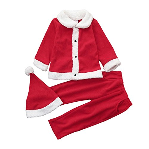 Vovotrade Infant/Toddler Baby Christmas Costume Party Clothes Patchwork Tops+Pants+Hat Casual Outfit Set (Red, 6M)