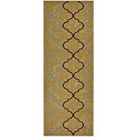 Custom Size Trellis Beige Roll Runner 26 in Wide x Your Length Choice Slip Resistant Rubber Back Area Rugs and Runners (Beige, 18 ft x 26 in)