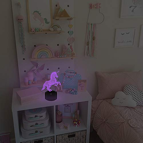 FULLOSUN Unicorn 3D Night Light, Decorative LED Bedside Table Lamp for Kids Room Xmas Birthday Gifts for Boys Girls Child
