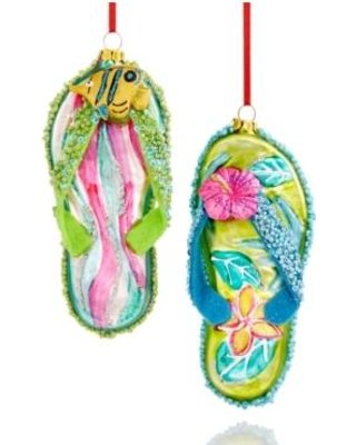 et of 2 Flip Flop Ornaments