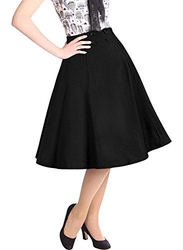 Miusol Women's High Waist Vintage A-line Cocktail Party Swing Skirt,Black - Retro Black 20