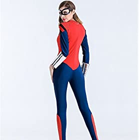 - 411cLY7HnqL - XSHUN Women Faux Leather Spiderman Jumpsuit Catsuit Halloween Cosplay Spiderman Costume