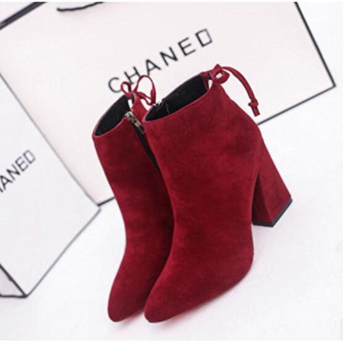 Black Closed PU Women's HSXZ Black Winter Shoes Brown Boots Casual Comfort Chunky Toe Wine Booties Heel Fall Ankle Boots ZHZNVX for vH4qq