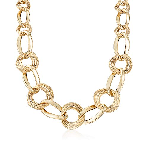 Curb Link Graduated (Ross-Simons Italian 14kt Yellow Gold Textured and Polished Graduated Curb-Link Necklace)