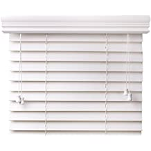 """Custom Made: 2"""" Premium Faux Wood Blinds by Spotblinds - Outside Mount (24""""W x 36""""L) Snow White Embossed"""