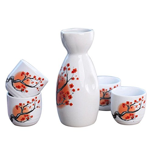 Tosnail 5 pcs Ceramic Japanese Sake Set - Orange Blossom by Tosnail