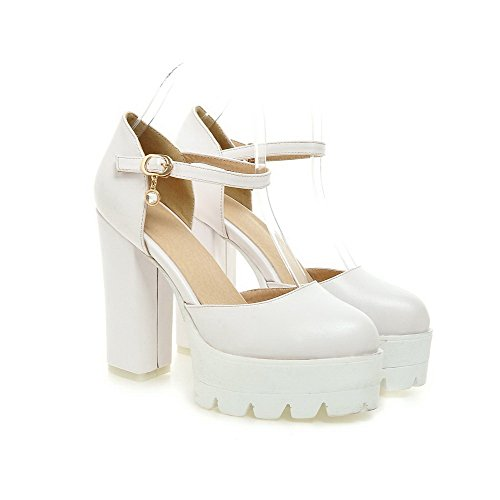 AmoonyFashion Womens Closed Toe High-Heels Soft Material Solid Buckle Sandals White OUoheFJ8