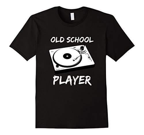 Men's Old School Record Player Distressed Music Funny T Shirt XL Black