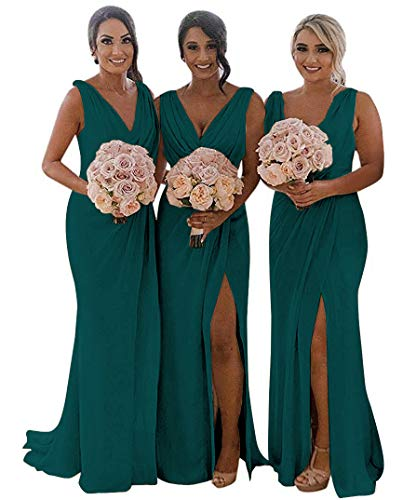 Dress Teal Homecoming (MARSEN Slit Bridesmaid Dresses Long V-Neck Chiffon Pleated Beach Wedding Party Dress 2019 Teal Size 16)