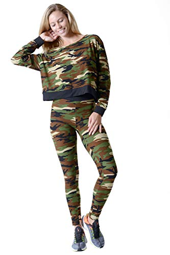 Women's Camouflage Pullover Top and Leggings Set Color Camouflage Size M/L