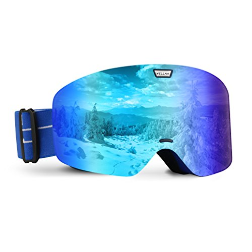 VELLAA Ski Goggles, Detachable Frame-less Anti Fog Lens 100% UV400 Protection OTG Snowboarding Goggles Adjustable Anti slip Strap for Men & Women Youth Blue (VLT 15%), - Best Polarized Ski Goggles