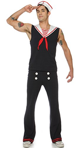 [Retro Sailor Costume Mens Adult USA Marine Navy Village People Anchor LG-XXL] (Male Sailor Costumes Halloween)