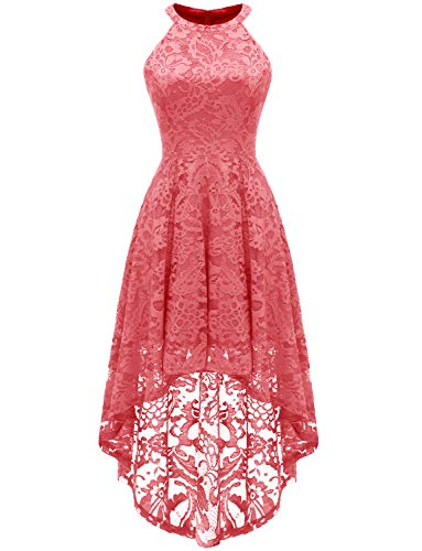 Dressystar 0028 Halter Floral Lace Cocktail Party Dress Hi-Lo Bridesmaid Dress M Coral