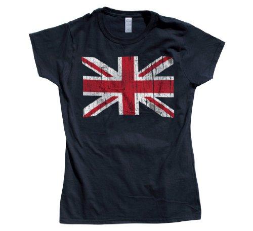 Rocket Factory Punk Rock British Flag Ladies T-shirt Vintage Look-Navy-Small