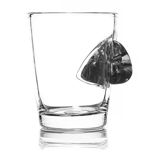 The Original Shot Glass Embedded with a Real Guitar Pick - Grey - http://coolthings.us