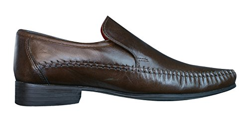 Red Tape Whittle Mocasines de cuero para hombre / Zapatos Brown