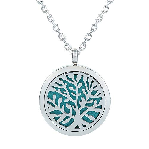 GerTong Essential Oil Diffuser Necklace, Hypo-Allergenic Premium 316L Stainless Steel Aromatherapy Diffuser Locket Pendant Set with 11 Color Refill Pads (Leaves)