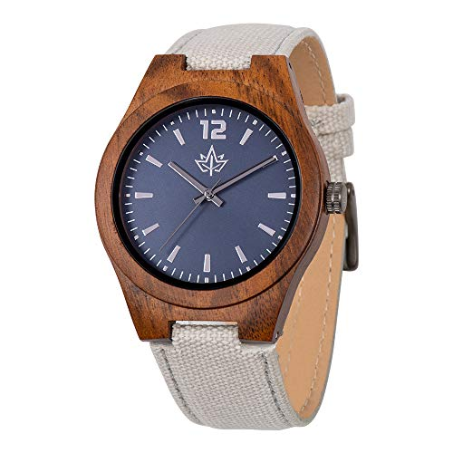 Wooden Watch for Men - Watch and Strap Made of Acacia. Large Easy to Read Face. Japanese Quartz Movement. Casual and Sporty with Bonus Credit Card Holder in a Stylish Gift Box. by Wood Stadium