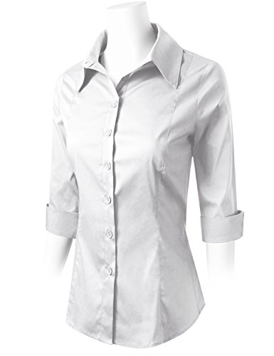 ELF FASHION Roll up 3/4 Sleeve Button Down Shirt for Womens Made in USA (Size S~3XL) White 3XL by ELF FASHION (Image #1)