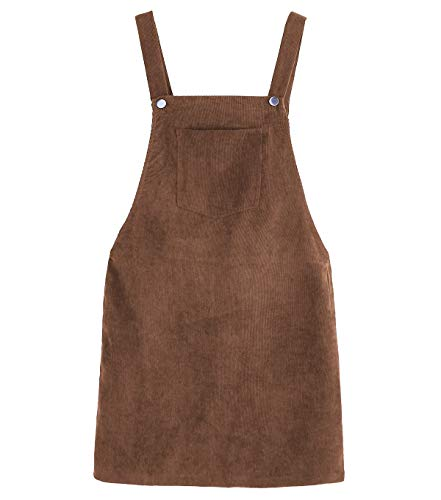 (Women Suspender Dress A-Line Strap Corduroy Pinafore Mini Denim Overalls with Bib Pocket (Large,)