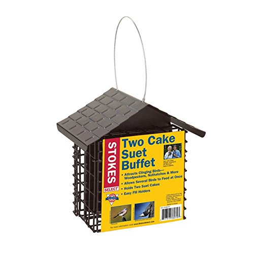 Stokes Select 38070 Capacity Double Bird Feeder with Metal Roof, Two Suet Capaci, 1-Pack, Black ()