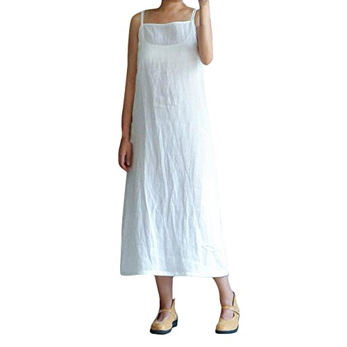 - BODOAO Women's Loose Plus Size Cotton Casual Embroidery Dress Solid Sleeveless Dress White