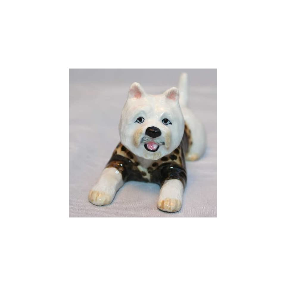 WESTIE Dog WEST HIGHLAND WHITE Terrier lays n LEOPARD Sweater New MINIATURE Figurine Porcelain KLIMA L504D