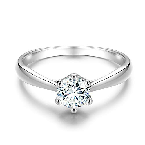 0.5 Ct Solitaire Ring - ailov 0.5 Ct Classic Round Solitaire Engagement Promise Ring Brilliant Cut Zircon Open Cathedral Setting (Silver, 5)