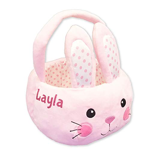 Personalized Plush Easter Basket (Pink Bunny)