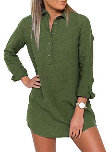 (Elapsy Womens Long Sleeve Turn-Down Collar Button Boyfriend T Shirt Tunics Tops Solid Club Short Dress Green)