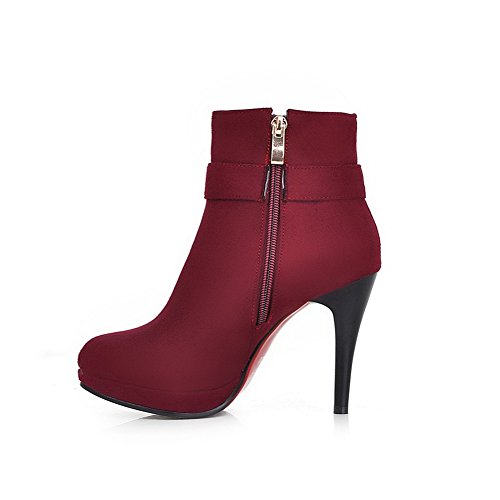 Suede Red Buckle Boots Ornament Ladies Metal Imitated Platform BalaMasa qY8Zn