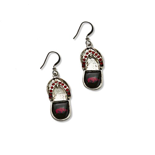 NCAA Arkansas Razorbacks Crystal Flip Flop Earrings