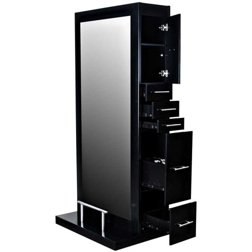 """Avondale """"Dallas"""" Black Double Sided Salon Hair Styling Station & Mirror With Center Drawer And"""