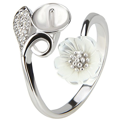 NY Jewelry Fashion 1 Piece Flower 925 Silver Adjustable Pearl Ring Accessories/Fitting/Mounting