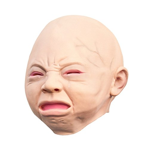 [edealing(TM) 1PCS Crying Baby Head Mask Latex Animal Costume Prop Gangnam Style Toys] (Baby Head Mask)