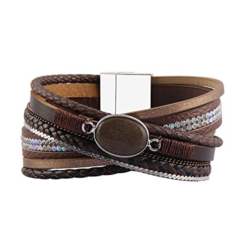 - Jenia Leather Wrap Bracelet Multi-Strand Rope Braided Bracelet Casual Cuff Bracelet with Agate Handmade Gift for Women, Teens Girls, Wife, Mother, Lady