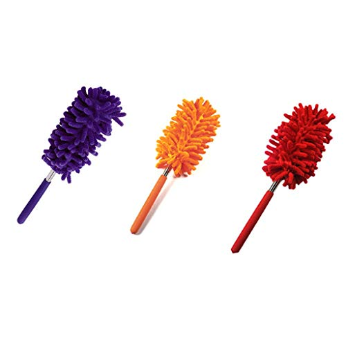 Houshelp Long-Reach Washable Dusting Brush with Telescoping Pole Retractable Extendable Flexible Microfiber Duster for Home Car and Office Extendable Duster for Cleaning