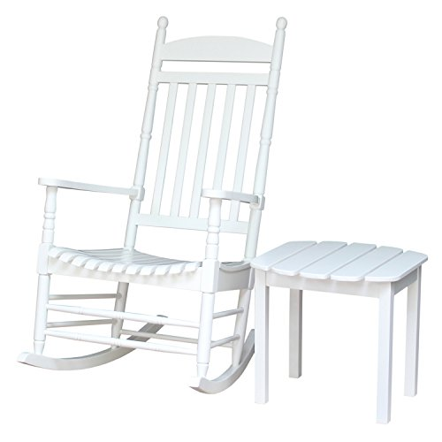 International Concepts Porch Rocker with Side Table, White