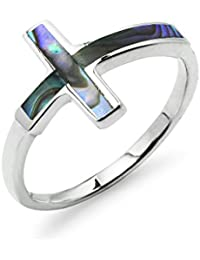 Cross Ring Sterling Silver - Abalone Inlay Love Friendship Promise Band Sizes 5 to 9