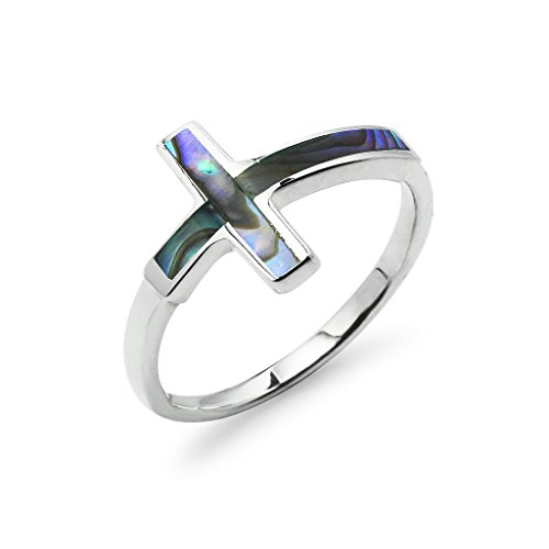 Cross Ring Sterling Silver Simulated Abalone Shell Size 9