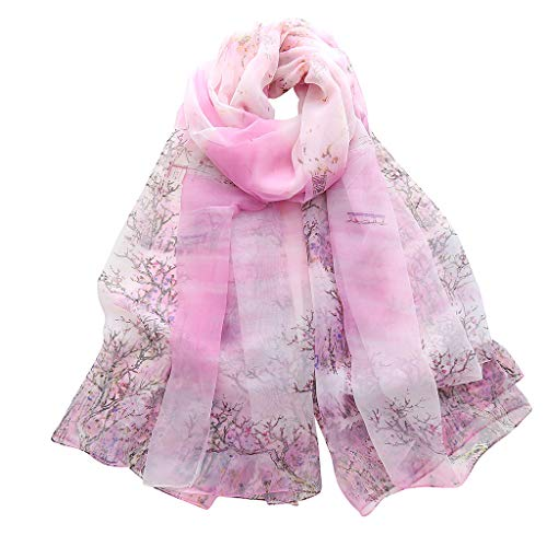 - CZYCO Women Ladies Wealth Trees Simulation Silk Pattern Long Soft Shawl Classical Warm Winter Scarf Gauze Kerchief (Pink)