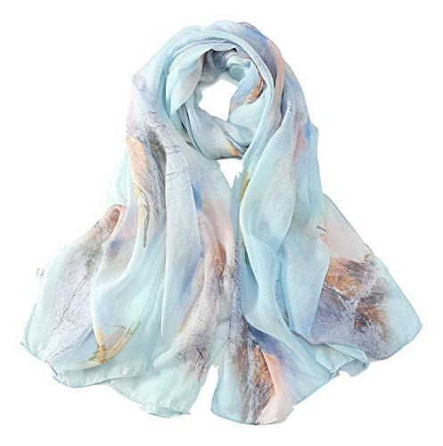 JWSilk Long Silk Chiffon Scarf Floral Print (Light Blue) ()