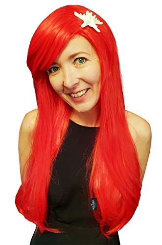 Ariel Wig for Kids + Starfish Hair Clip + Wig Cap + Heat Resistant Girls Red Mermaid Long Cosplay Womens Adult Wigs -