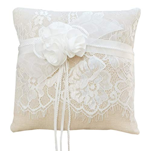 Awtlife Lace Wedding Ring Pillow, Flower Ring Bearer Pillow,8.26 Inch for Wedding -