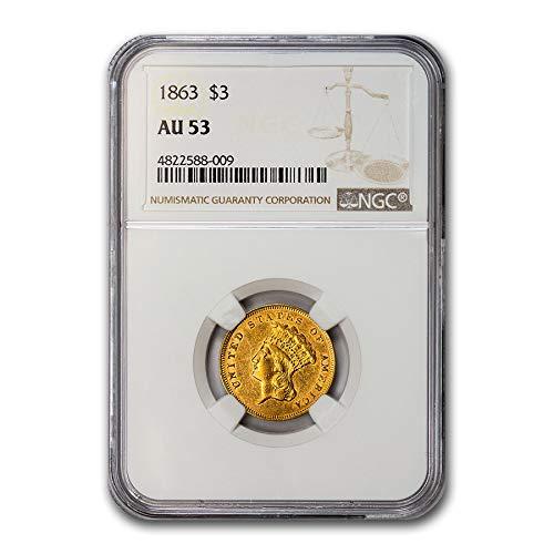 1863 $3 Gold Princess AU-53 NGC Gold AU-53 NGC