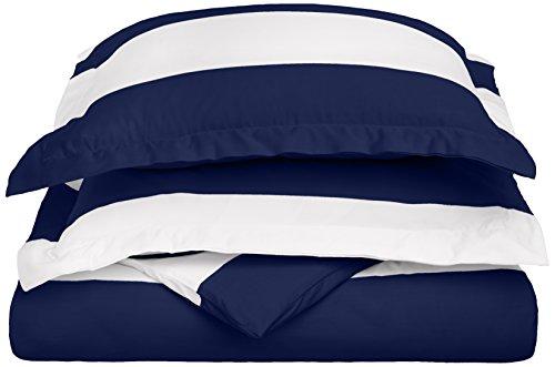Cabana Stripe Kids Wrinkle Resistant Cotton Blend 600 Thread Count Full/Queen 3-PieceDuvet Cover Set, Navy Blue