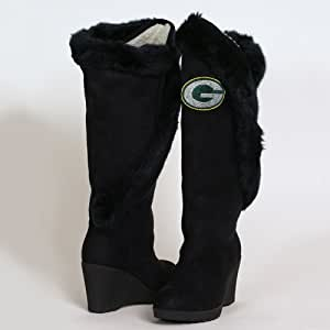NFL Cuce Shoes Green Bay Packers Women's Cheerleader Boots - Black (8)