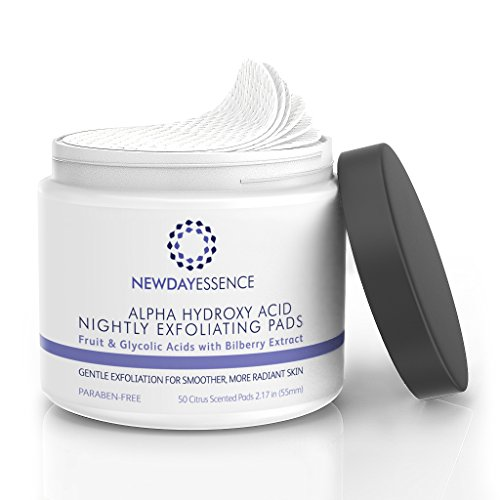 Alpha Hydroxy Acid (AHA) Glycolic, Malic, Lactic Nightly Exfoliating Peel Pads - Anti Aging Treatment Gentle Resurface, Smooth, Brighten Skin Tones, 50 Count