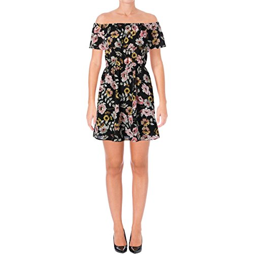 cupcakes and cashmere Womens Trenton Floral Print Mini Dress Black (Cashmere Mini Dress Black)