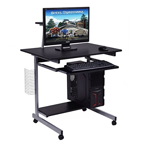 Tangkula Computer Desk Home Office Mobile Compact Workstation Laptop PC Table Table with Wheels Student Dom Apartment Compact Portable Sturdy Writing Table (black with printer shelf) by Tangkula
